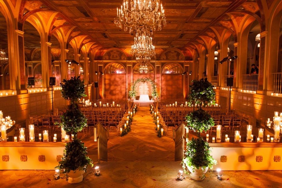 Topiary and Candle Wedding Ceremony Decor Event Planning