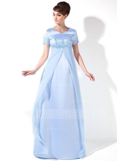 Empire V-neck Floor-Length Chiffon Satin Maternity Bridesmaid Dress With Beading (045025997)