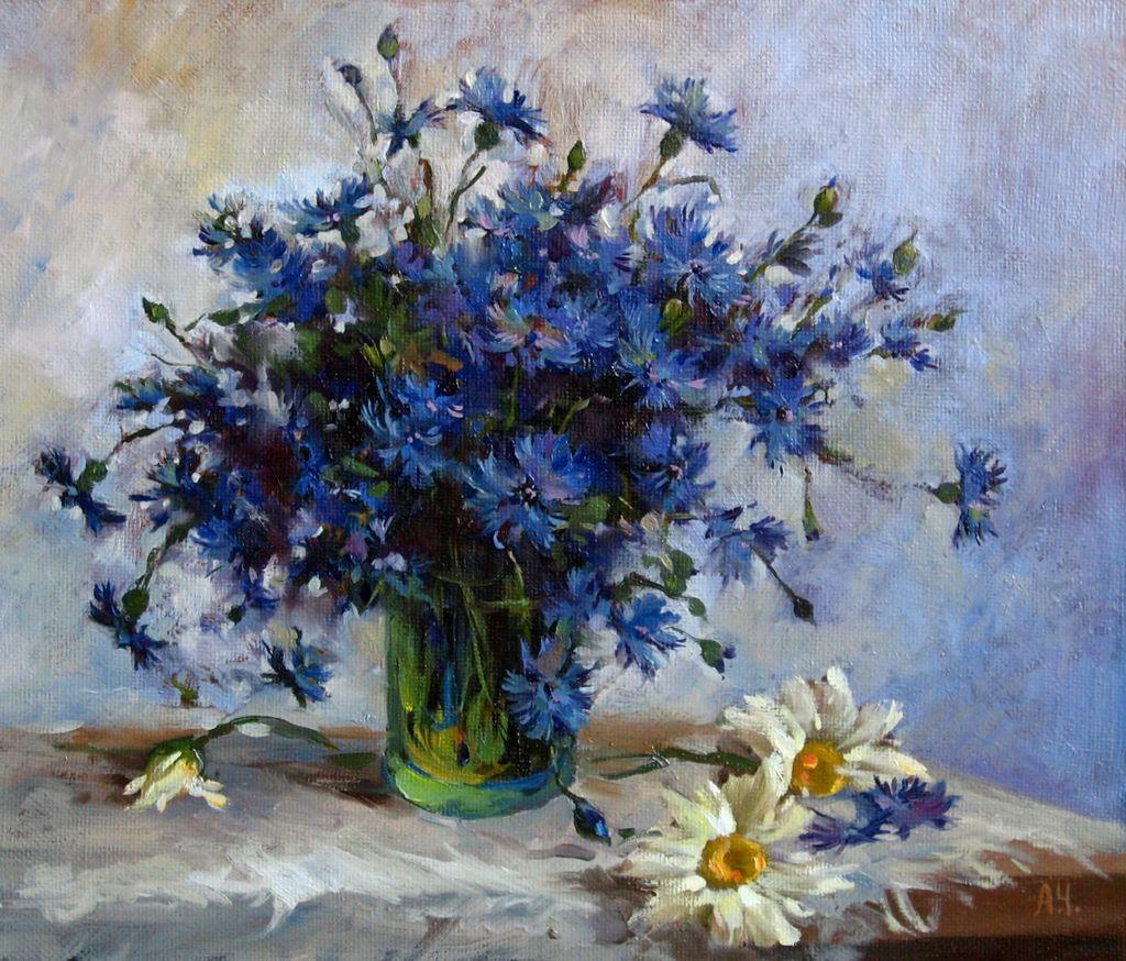 Russian Master: Chubakov Anton http://www.russianfineart.co/catalog/prod.php?productid=25249  Cornflowers - oil, canvas