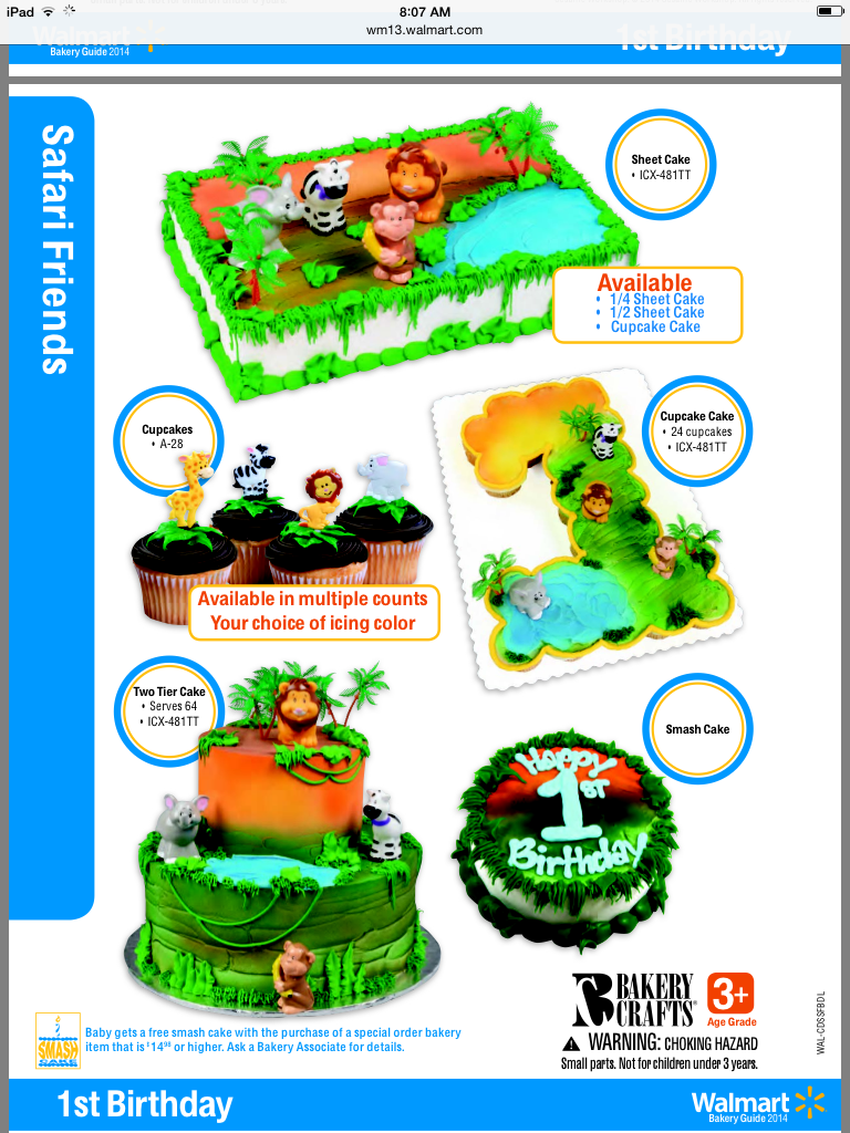 Peachy Safari Friends Kit From Walmart Bakery Cake Servings Tiered Funny Birthday Cards Online Alyptdamsfinfo
