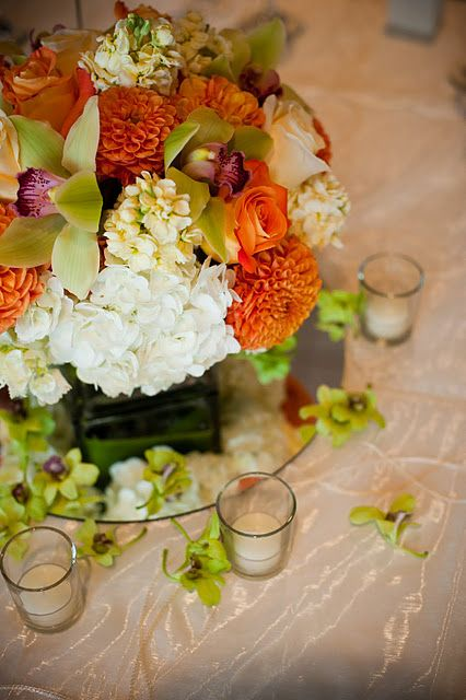 Tommy bahama inspired centerpiece with orchids dahlias