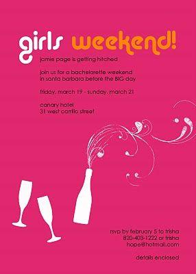 Girls Weekend Invite Soiree Pinterest Girls Weekend Girls