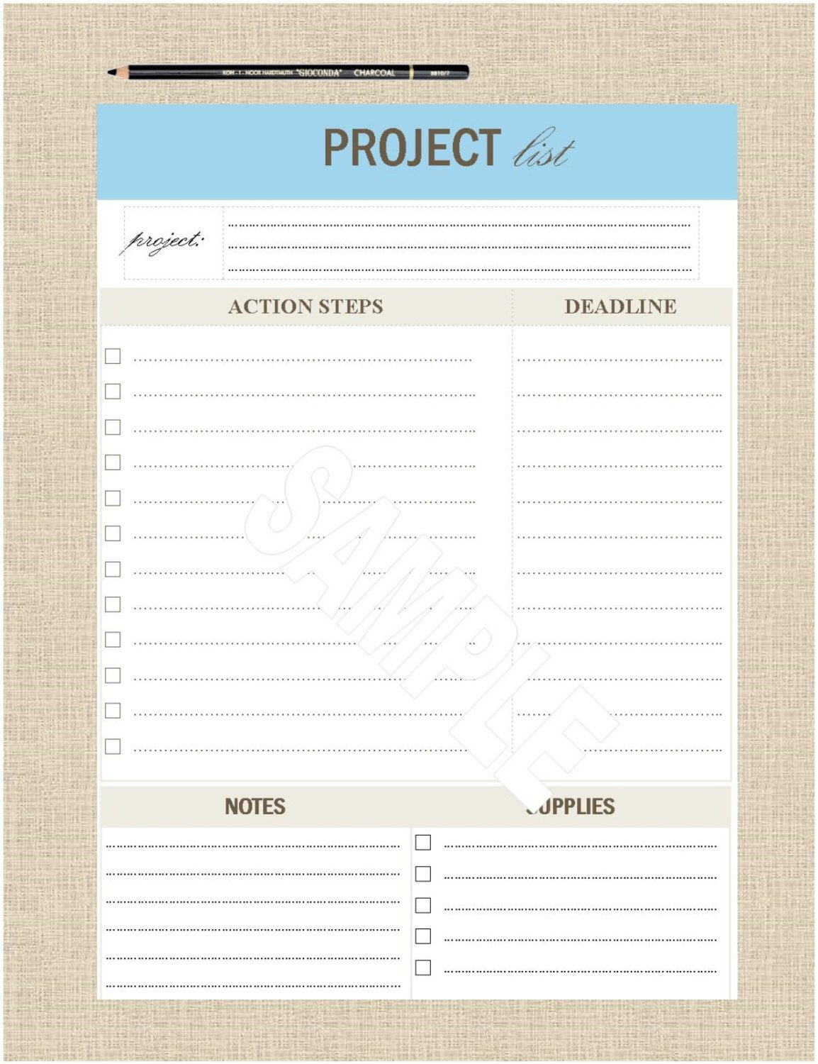 LifeS Lists Printable A Project List By Lifeslists On Etsy Https