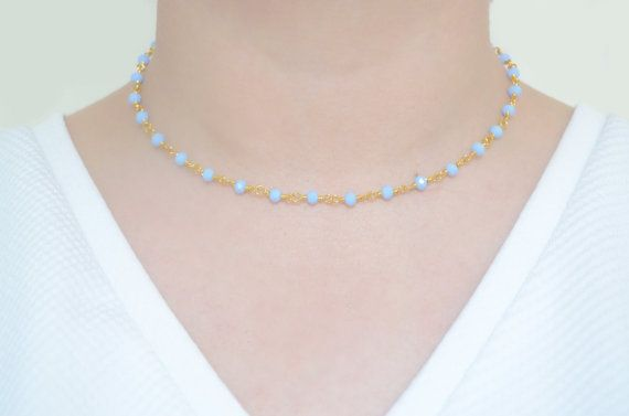 Dainty Periwinkle Gemstone Chain Choker by ShopLumiere on Etsy
