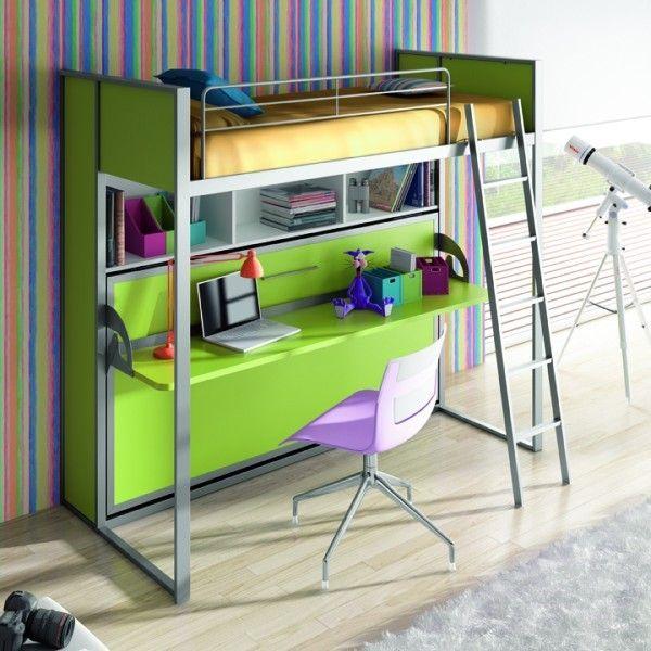 Cama abatible litera camas con esritorio for Camas literas juveniles