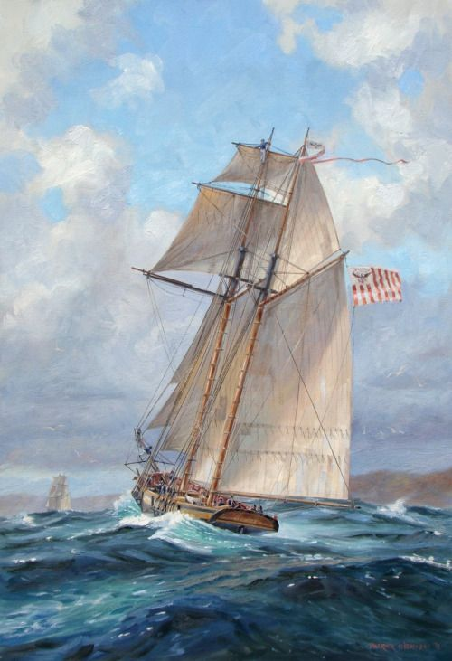 """""""Revenue Cutter Eagle on Patrol During the War of 1812.""""by: Patrick O'Brien"""