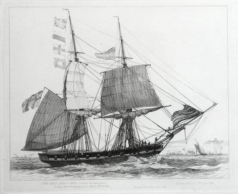 THE WOLF BRIG of WAR Late of the Royal Navy Making signal and laying to for a Pilot off Dover Drawn and Etched by E W Cooke Published London 1829 in