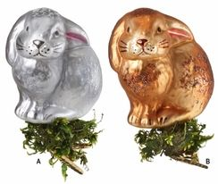 "Bunny Tales Clip On Ornament by Inge Glas - $21.50 each Mouth blown and hand painted by Inge Glas in Neustadt by Coburg, this ornament is approximately 3 1/4"" tall. Z"