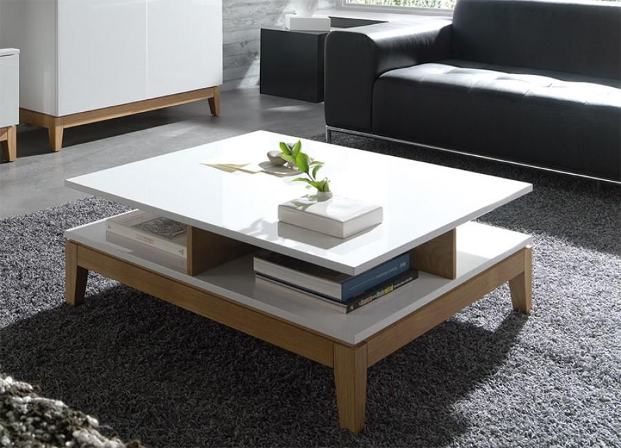 sandrine contemporary high gloss white and oak coffee table