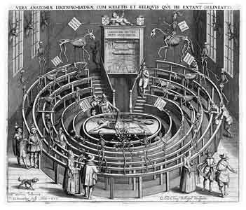 Lecture Theatre at Leiden, early 17th century