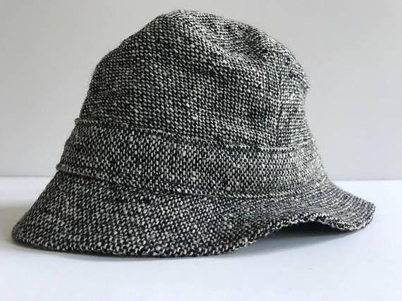 fd8d95cf IRISH TWEED Trilby Hat Black Off-White Harp Logo Made in Ireland Vintage  Hipster