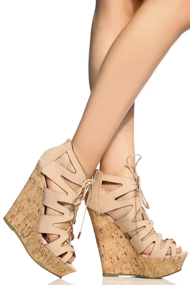 644515974c75 Nude Faux Suede Cut Out Lace Up Cork Wedges   Cicihot Wedges Shoes Store Wedge  Shoes