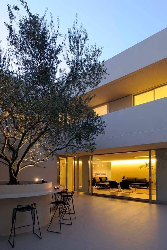 プール 水庭のある家 大きなオリーブの木と水の庭が迎える家 アー
