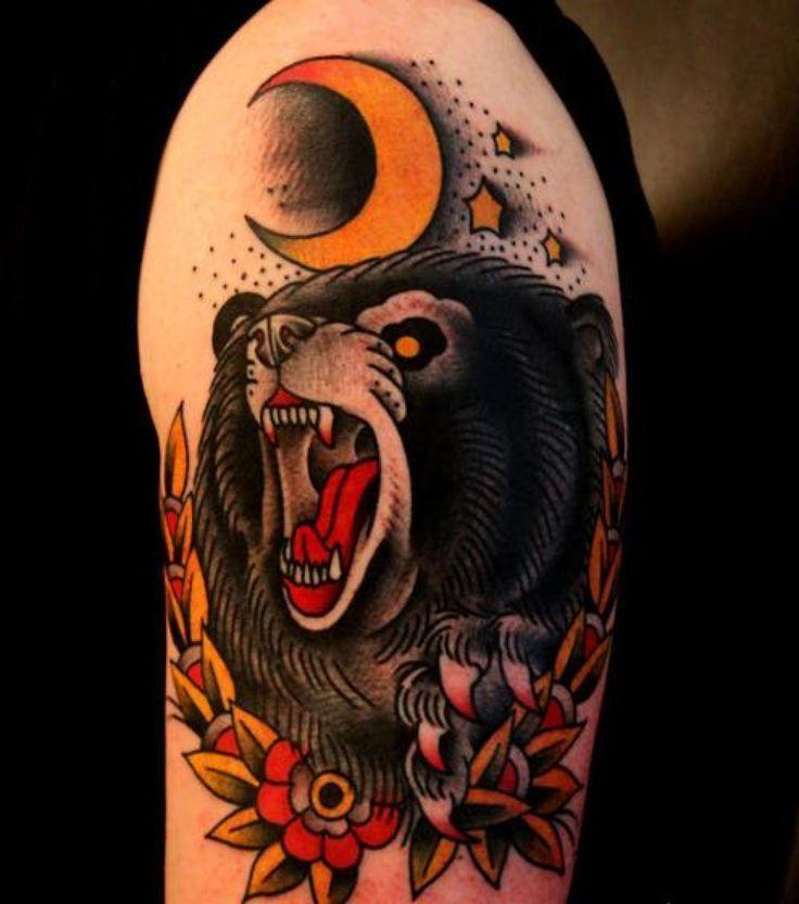 american traditional bear tattoo tattoos pinterest bear