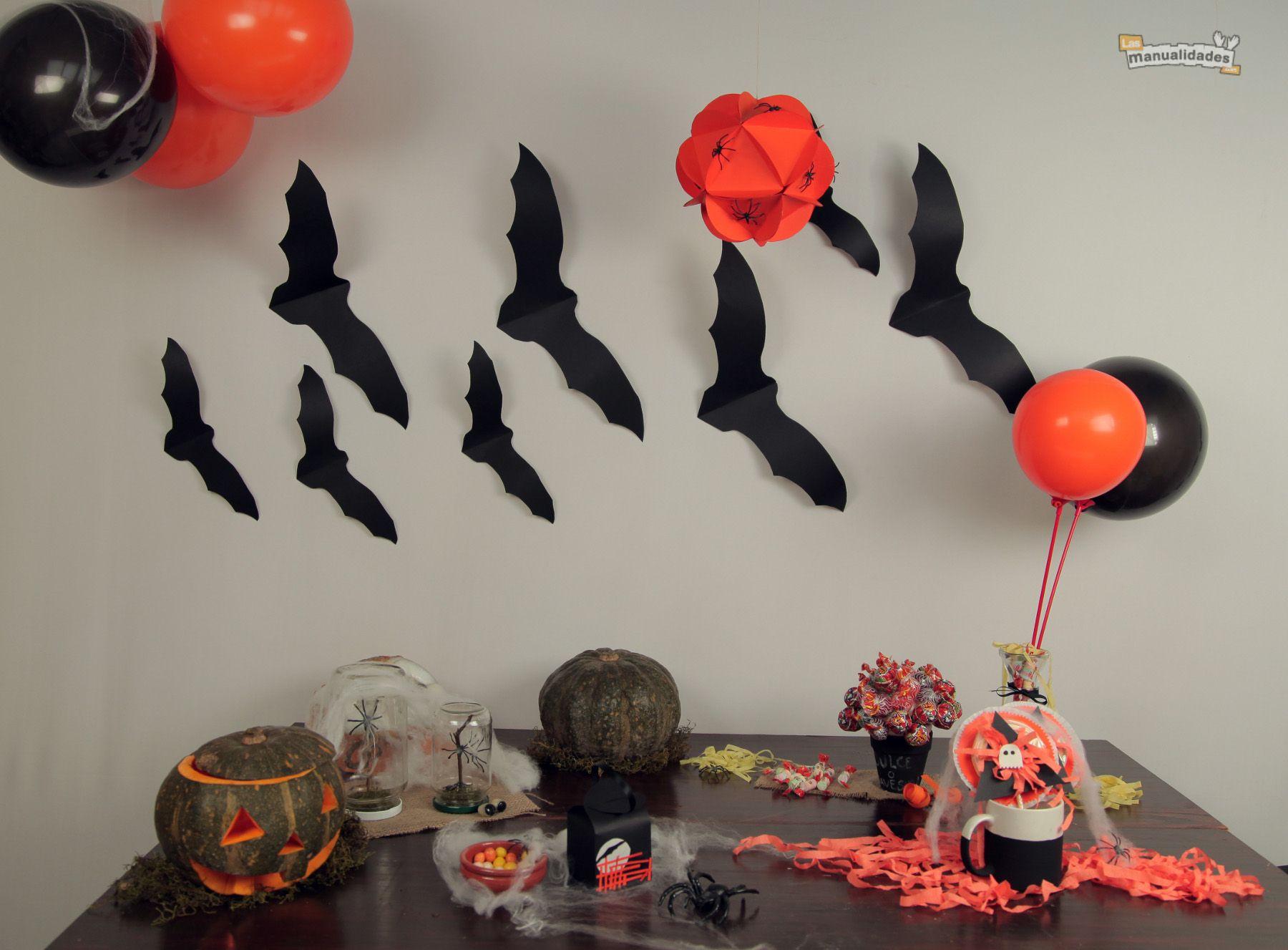 Murci lagos de papel para decorar en halloween - Murcielagos para halloween ...
