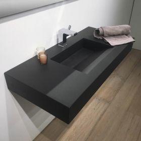Plan vasque salle de bain suspendu 101x46 cm pierre - Vasque sous plan salle de bain ...