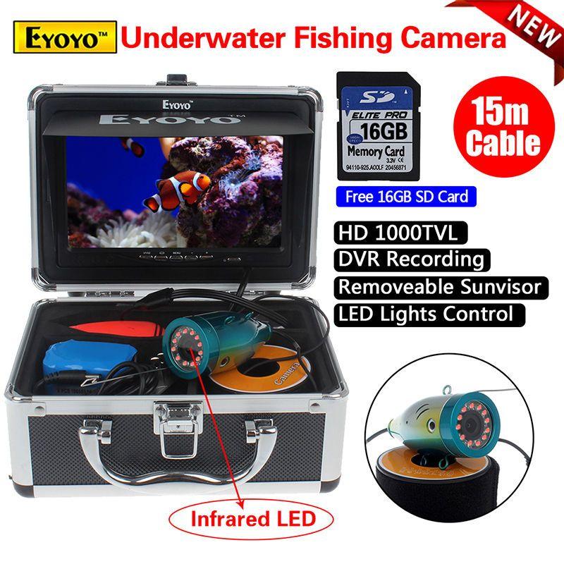 """Free shipping!EYOYO 15M/49ft 7"""" Screen 1000TVL 16GB Fish Finder IR Fishing DVR Camera Tools"""