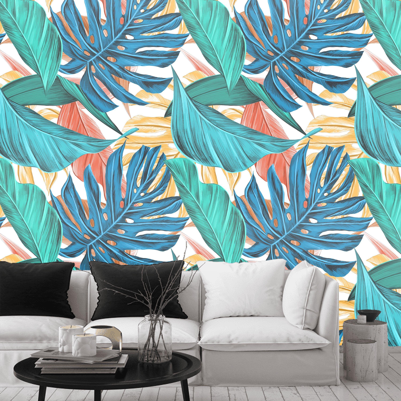 Jungle leaves wall mural, monstera adansonii wallpaper