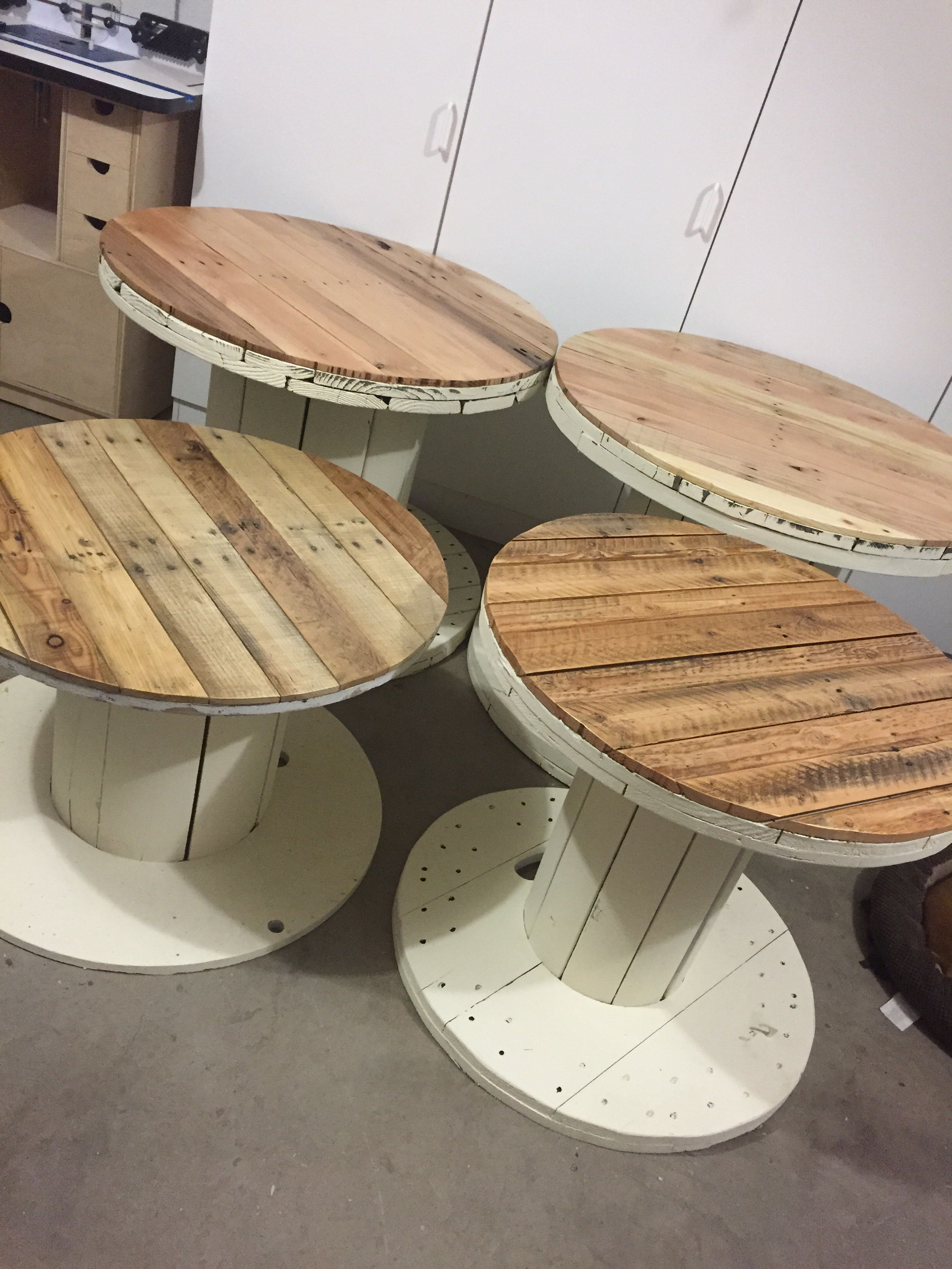 My New Little Family Of Spool Tables My Husband Just Finished For