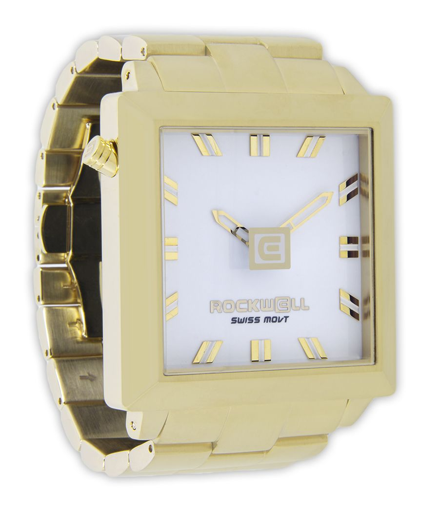 Rockwell Watches 50mm2 Sapphire Coated Crystal 50mm Square Case Not Including Crown 14k Gold Plated Solid Stainless Steel Sw Square Watch Gold White Gold