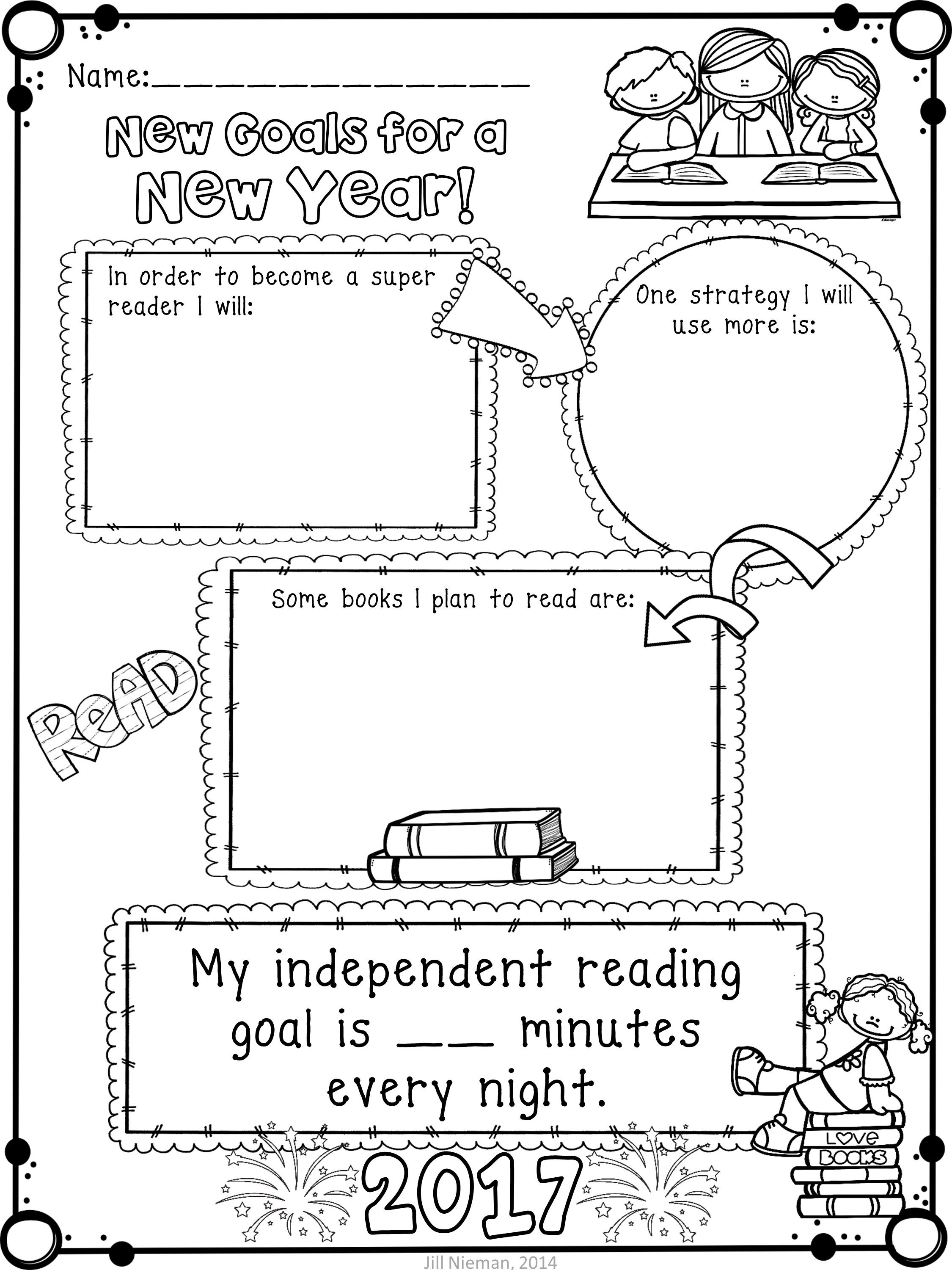 New Year S Activities Reading Goals Poster And