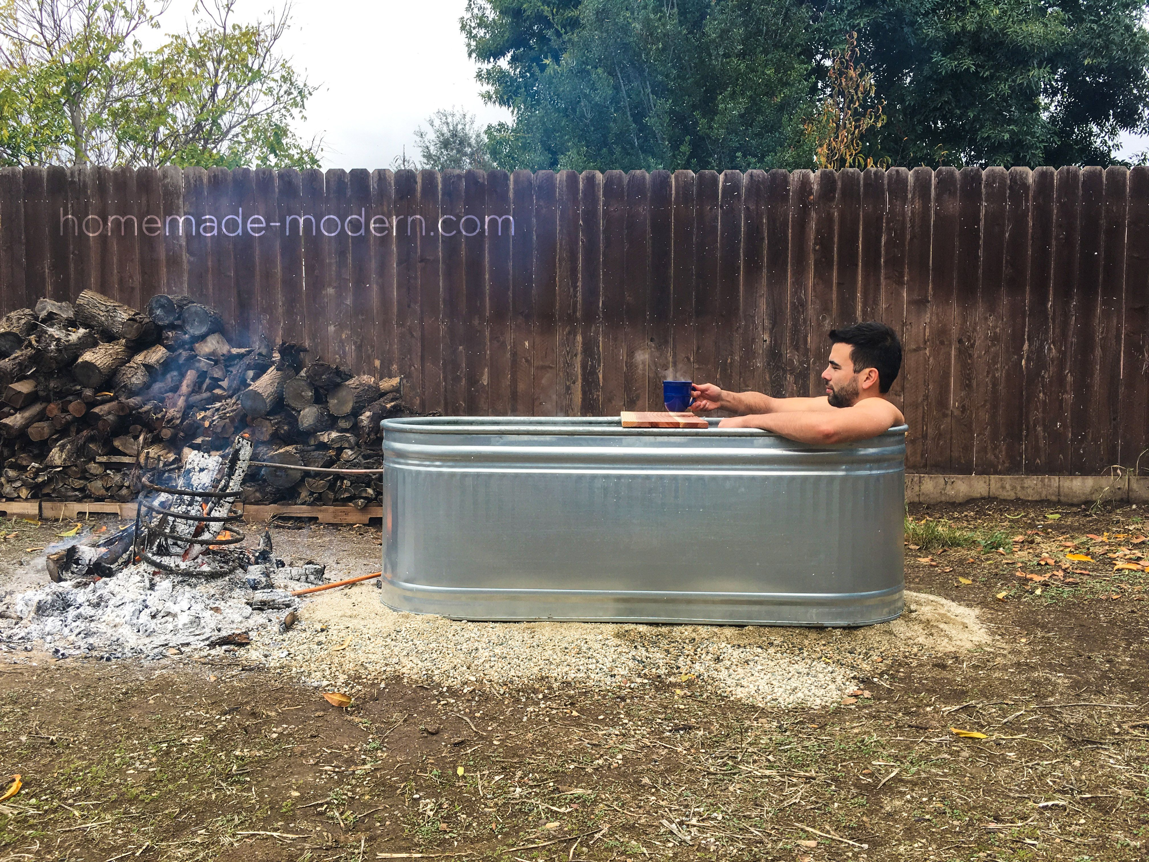 This Diy Wood Fired Hot Tub Is Made From A Stock Tank And