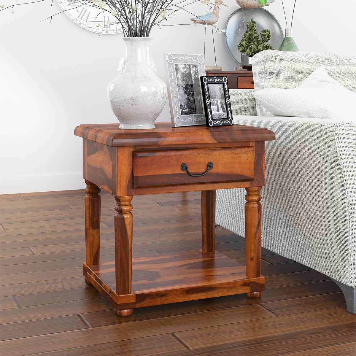 Isleton Rustic Solid Wood 1 Drawer 2 Tier End Table With Images