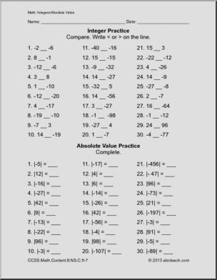 Common Core Math Worksheets Sixth Grade Math Integer Preview 1 Common Core Math Worksheets 7th Grade Math Worksheets Math Worksheets