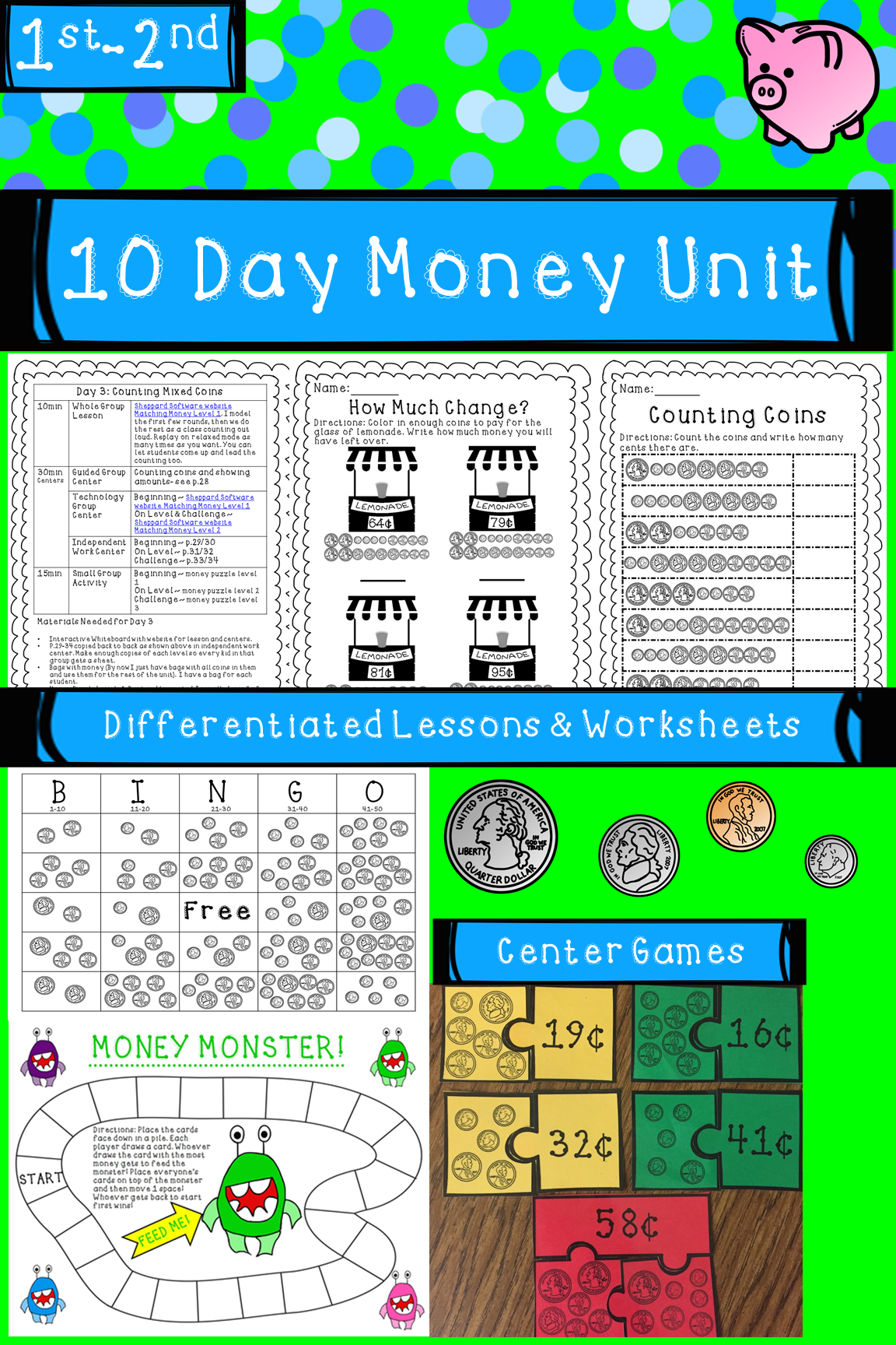 Money Unit Counting Coins Differentiated Lessons