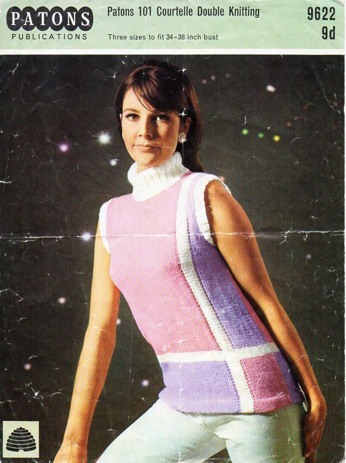 e17bb7ee351e7 womens sleeveless sweater knitting pattern pdf DK ladies polo neck jumper  Vintage 1960s 34-38