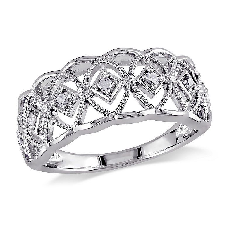 Womens 1 10 Ct T W Genuine White Diamond Sterling Silver Cocktail Ring Fashion Rings Cocktail Rings Diamond