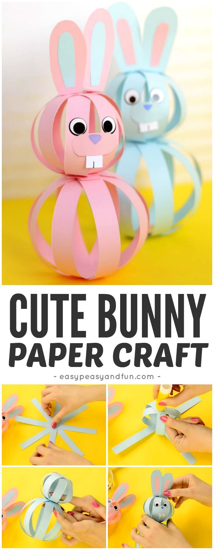 Easy paper bunny craft easter idea for kids bunny crafts easter