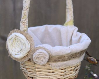Rustic  Flower Girl Basket -Burlap and Linen- Faded yellow