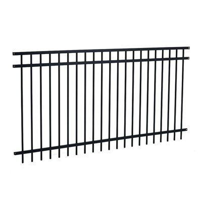 48 In X 96 In Majestic 3 Rail Black Fence Panel Fence Panels