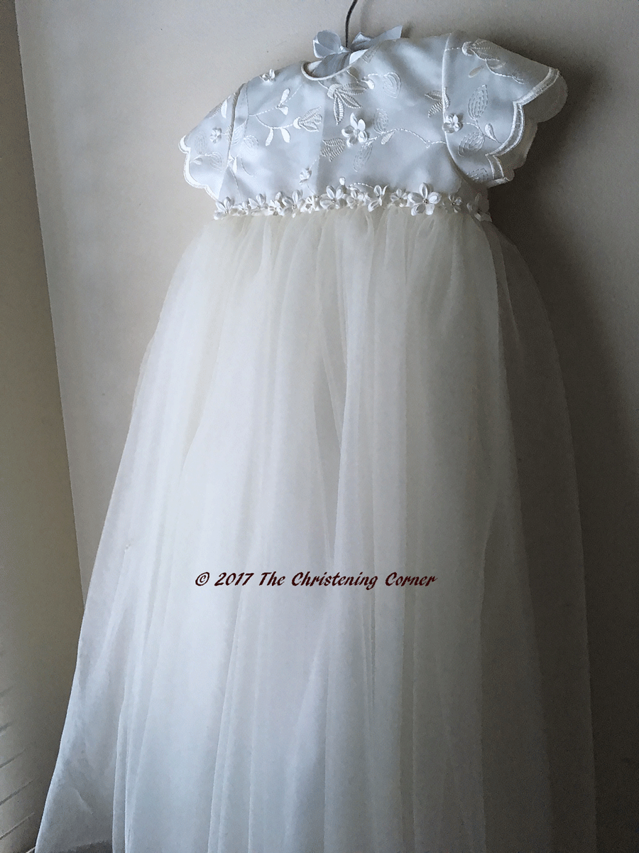 c7e93c36a Sarah Louise Applique Tulle Christening Gown | Heirloom sewing