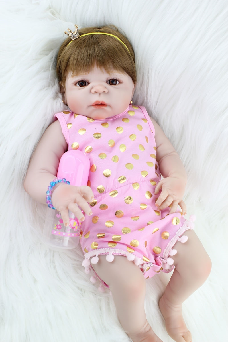 82.16 Buy here 55cm Full Silicone Reborn Girl Baby Doll