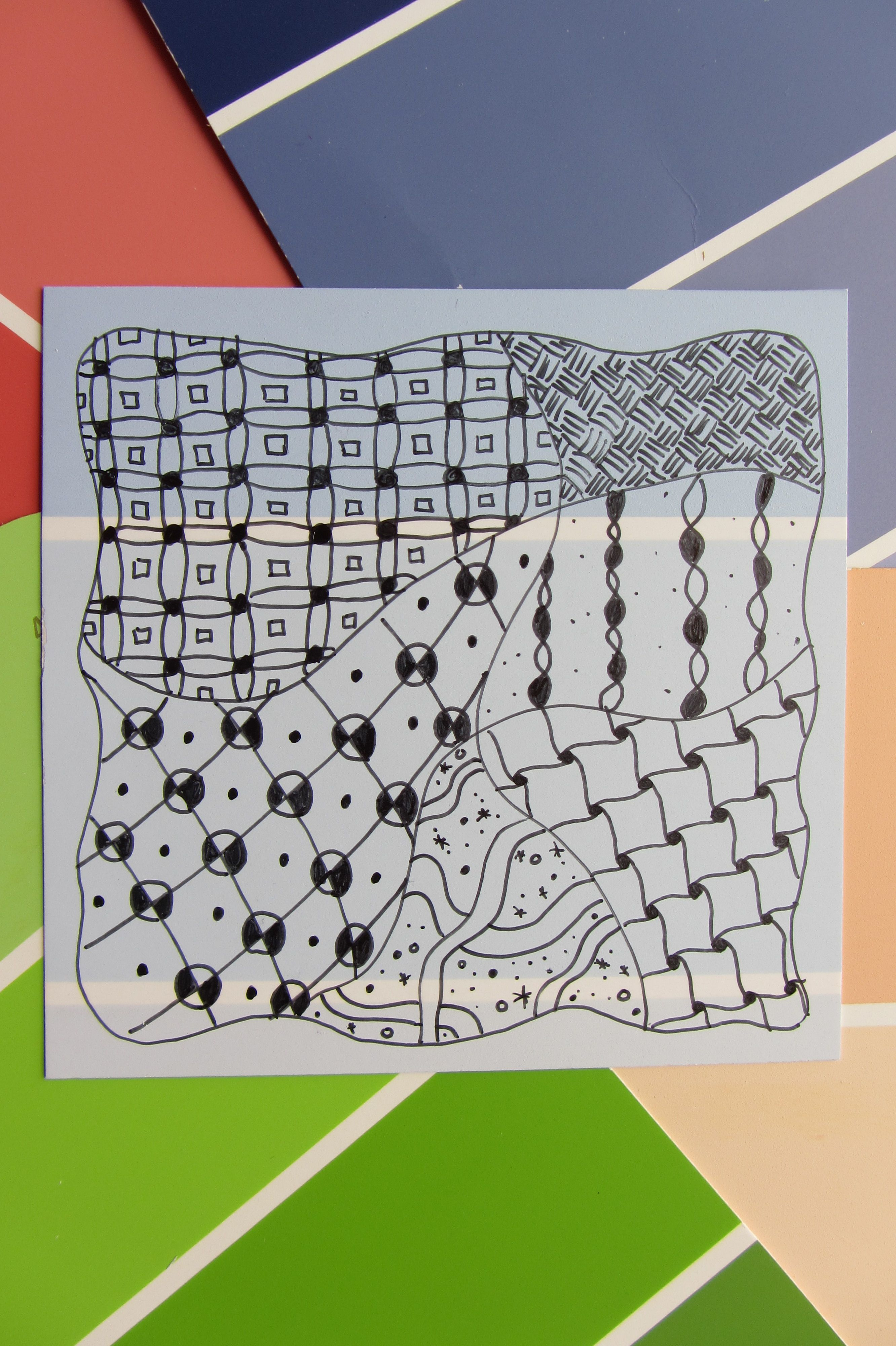 Zentangle On Paint Chip Card