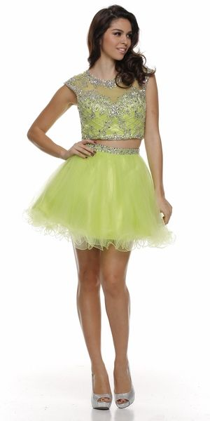 Cropped Bodice Jewel Neck Lime Green Short Puffy Prom Dress | Puffy ...