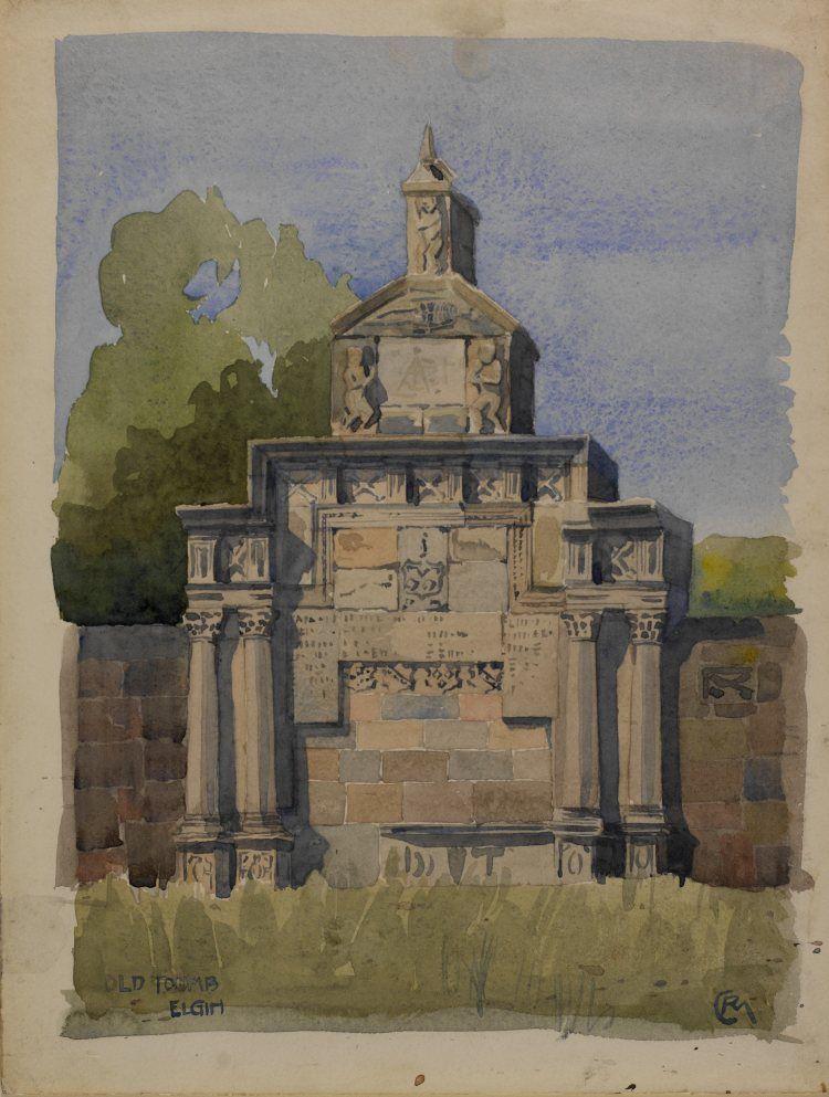 Tomb, Elgin c.1889 watercolour on cream paper