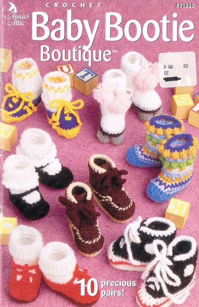 Baby Bootie Boutique Crochet Pattern Booklet #AnniesAttic | Baby ...
