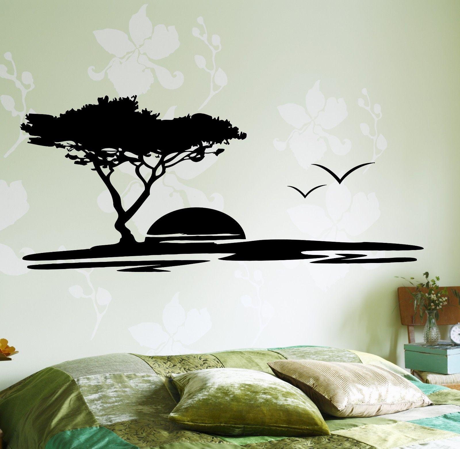 Wall Decal Tree Birds Sun Romantic Vinyl Sticker Z3628 Wall Paint Designs Tree Wall Decal Wall Painting