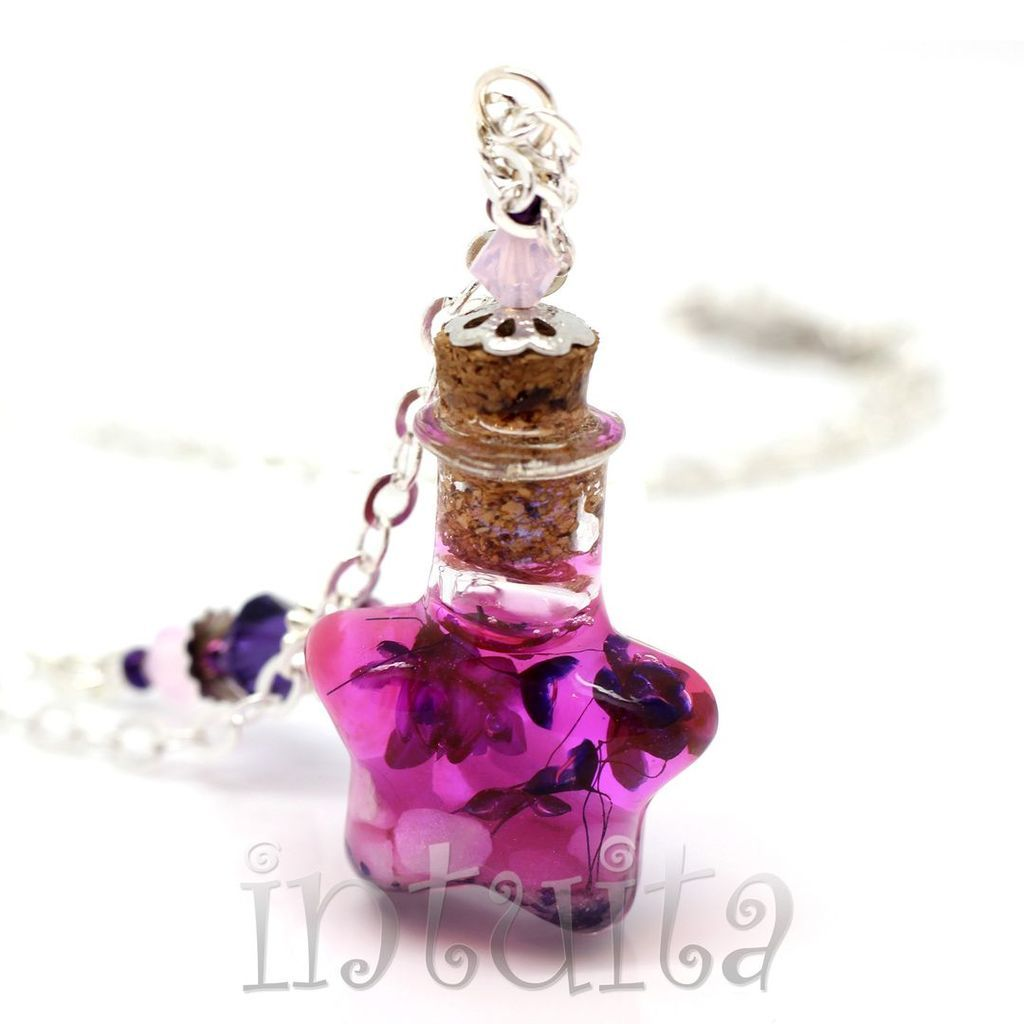 Magenta Love Potion Pendant For Witches with Real Dried Flowers Inside