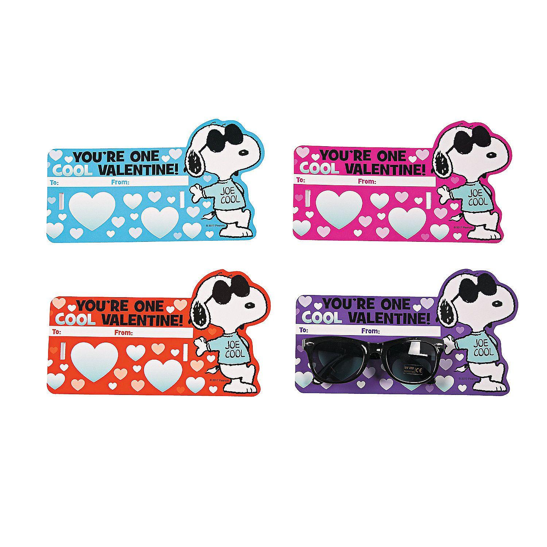 Peanuts 174 Valentine Card With Glasses Orientaltrading Com Valentines Cards Kindergarten Valentines Snoopy Valentine