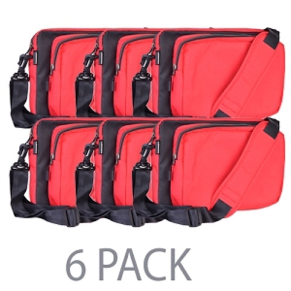 (6-Pack) Cocoon CLS456RD Nylon Laptop & Tablet Sleeve w/Grid-It Organization System - Fits 13 (Red)