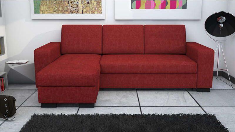 canap d 39 angle convertible et r versible new scott coloris rouge prix promo canap pas cher. Black Bedroom Furniture Sets. Home Design Ideas
