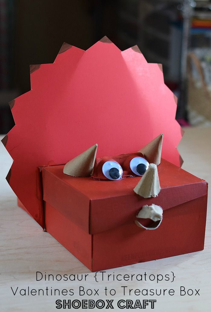 Awesome Dinosaur Valentine Box Shoebox Craft How to make a dinosaur Triceratops Valentines box kids can turn into a treasure box or keepsake box after Valentines Day Simp...