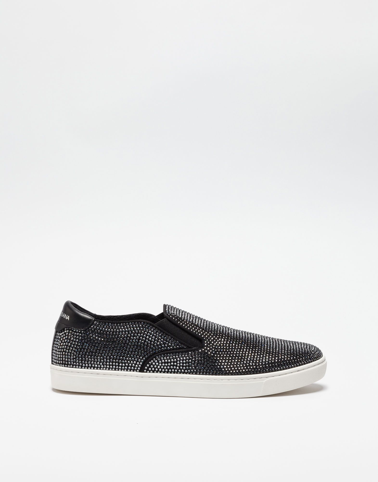 1afe14001 DOLCE   GABBANA SLIP ON SNEAKERS IN CANVAS WITH HEAT-SEALED CRYSTALS.   dolcegabbana  shoes
