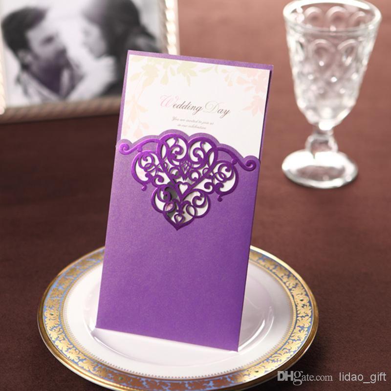 Vintage Purple Lace Cutout Free Personalized Customized – Custom Printing Wedding Invitations