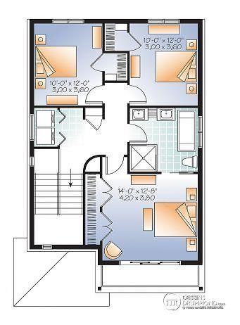 Étage Maison de ville Contemporaine avec garage sous la maison, 3 - plan maison etage m
