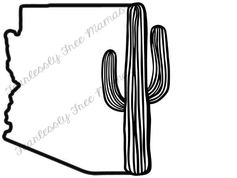 AZ outline saguaro svg cricut Silhouette SVG png jpeg